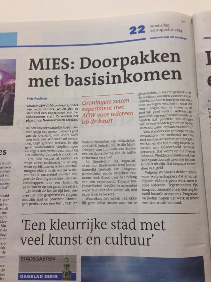 Krant: Dagblad van het Noorden – 20 augustus 2014
